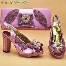 ピンク色イタリアの靴高品質の靴とバッグセットアフリカセット 2019 女性の靴とマッチング ZS 12