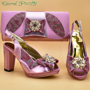 Image 1 - Pink Color Italian Shoes with Matching Bags High Quality Shoes and Bag Set African Sets 2019 Ladies Shoes with Matching  ZS 12