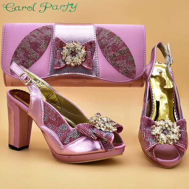Pink Color Italian Shoes with Matching Bags High Quality Shoes and Bag Set African Sets 2019 Ladies Shoes with Matching  ZS 12