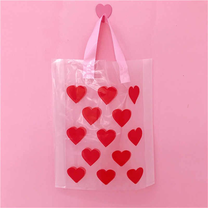 Fashion Merah Hati Wanita Tote Tas Belanja PVC Besar Wanita Pantai Handbags Cute Cetak Clear Hadiah Bag Open Dompet