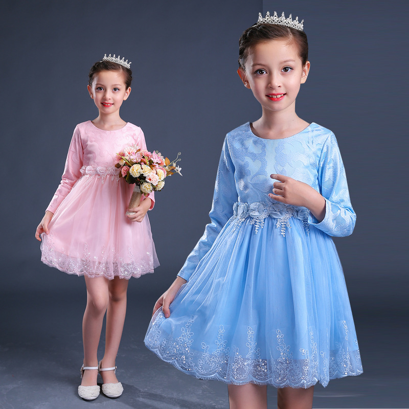 Baby Girl Lace Dress floral autumn long sleeve Tutu dress kids birthday wedding party clothes 3-10y toddler girls clothing new 2016 winter new soft bottom solid color baby shoes for little boys and girls plus velvet warm baby toddler shoes free shipping