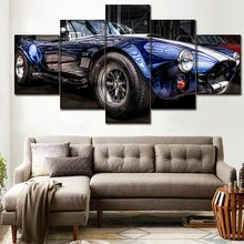 Canvas HD Print Picture Wall Art Decor Kader 5 stuk AC Cobra Blauw Convertible Sport Auto Voertuig Schilderen Modern Home decor(China)
