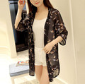 2016 NEW summer chiffon casual women fashion cardigan half sleeve beach tops thin wear sexy lace