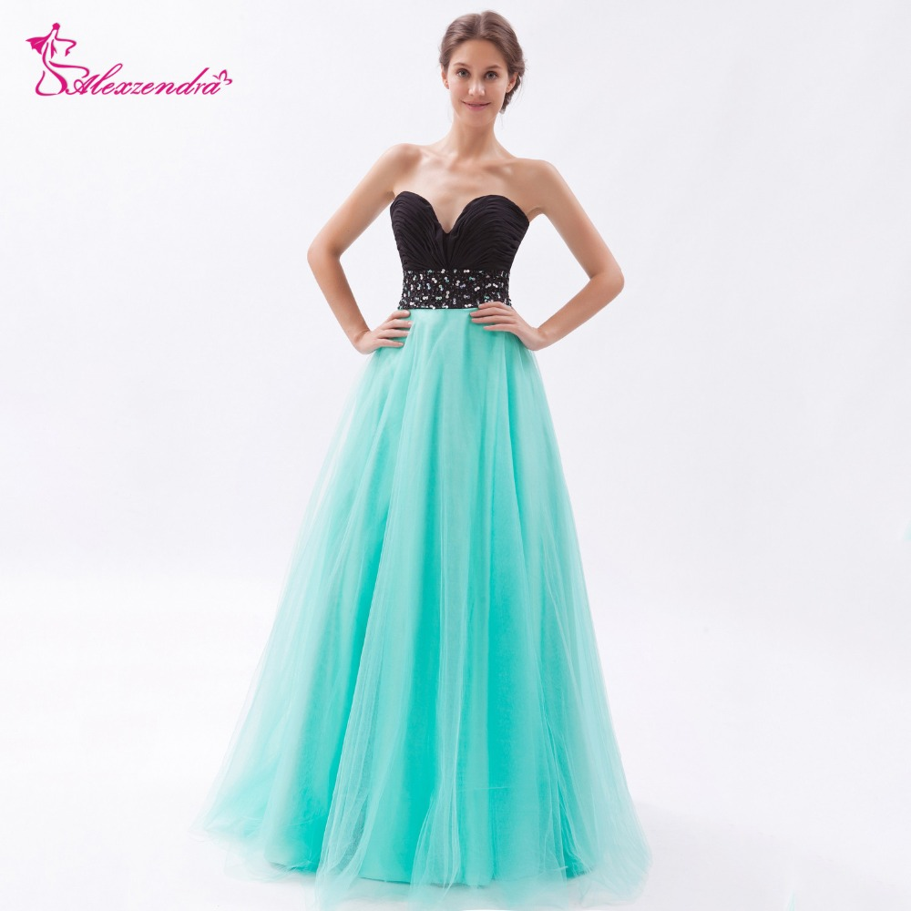 Alexzendra Black Top Beaded A Line   Prom     Dresses   Sweetheart Simple Long Evening Gowns Party   Dress   Customize