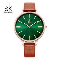 Shengke Watches Women Brand Luxury Quartz Wristwatch Ladies Fashion Leather Watch Relogio Feminino 2018 Female Gift
