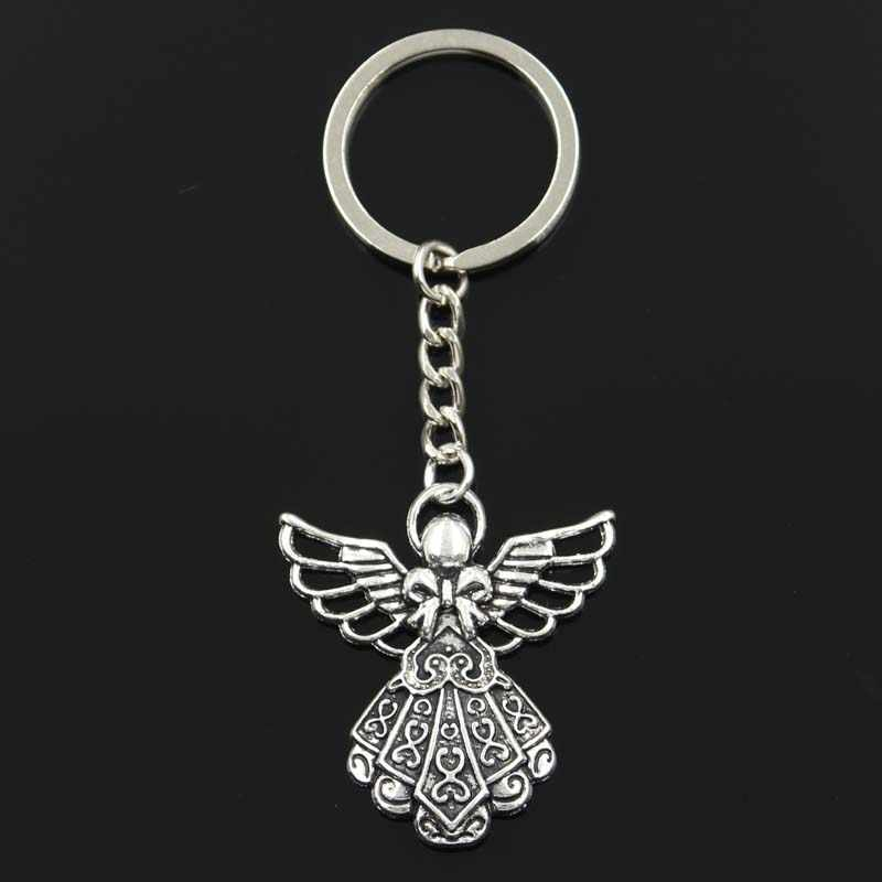 Fashion guardian angel 42x38mm Pendant 30mm Key Ring Metal Chain Silver Men Car Gift Souvenirs Keychain Dropshipping