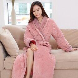 Лидер продаж, женское плотное стеганое длинное кимоно, банный халат для женщин, большой размер, женский халат, зимний халат для невесты, свад...