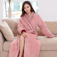 Hot Sale Womens Thick Quilted Long Kimono Bath Robe Women Plus Size Bathrobe Femme Winter Dressing Gown Bridesmaid Robes Wedding