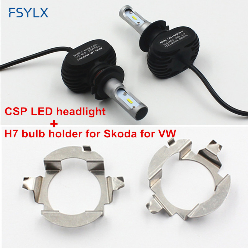 buy fsylx h7 led headlight bulb with adapter holder for skoda octavia a5 superb. Black Bedroom Furniture Sets. Home Design Ideas
