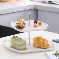 1 pcs / ceramic tableware fruit cake tray food dessert plate bone china double tray ceramic tableware accessories