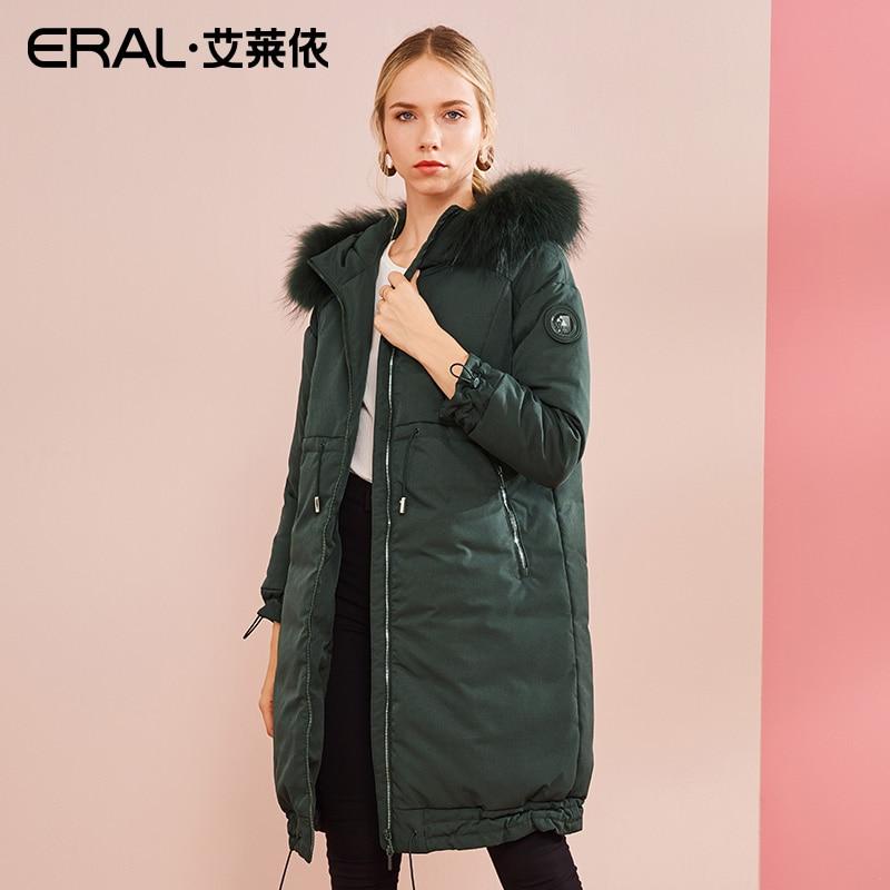 ERAL для женщин пальто зима термальность Роскошные енота меховой воротник с капюшоном длинный пуховик плюс размеры 617104166