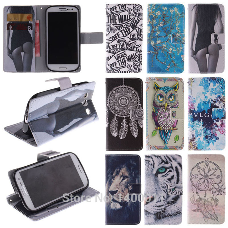 Luxury Stand Flip Leather Cover Case for Samsung Galaxy s3 i9300 s 3 cell Phone Cases Magnetic Chip with Card Holder Caque