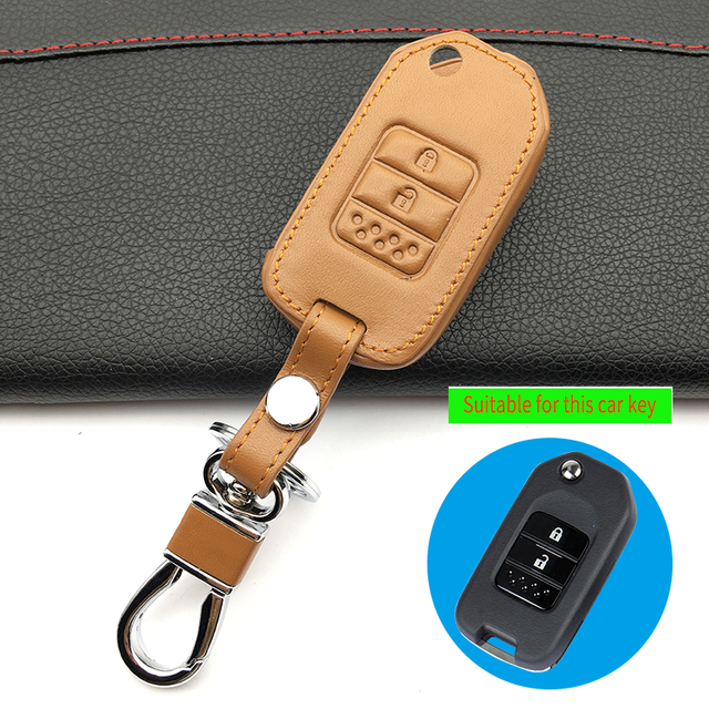 2017 Latest Men s Fashion And Genuine Leather Women s Car Key Case Cover  Keychain for Honda 2 243670f4f0