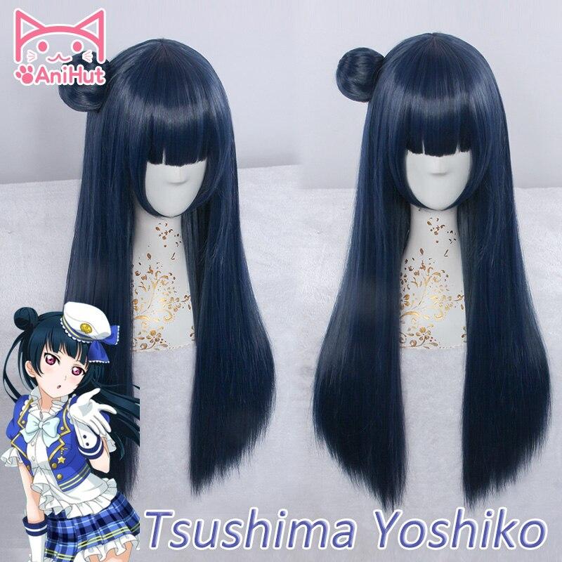 【AniHut】Tsushima Yoshiko Wig Love Live Sunshine Cosplay Wig Blue Synthetic Hair LoveLive Sunshine Cosplay Tsushima Yoshiko