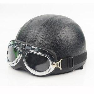 Image 2 - חצי קסדת אופנוע פנים פתוחים אופניים חשמליים קסדה משקפי מגן עבור קטנוע רכיבה על אופניים סיור בציר קסדת להארלי