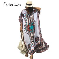 Feiterawn Women Summer African Ethnic Print Kaftan Maxi Dress 8 Color 2018 Summer Loose Vintage Boho