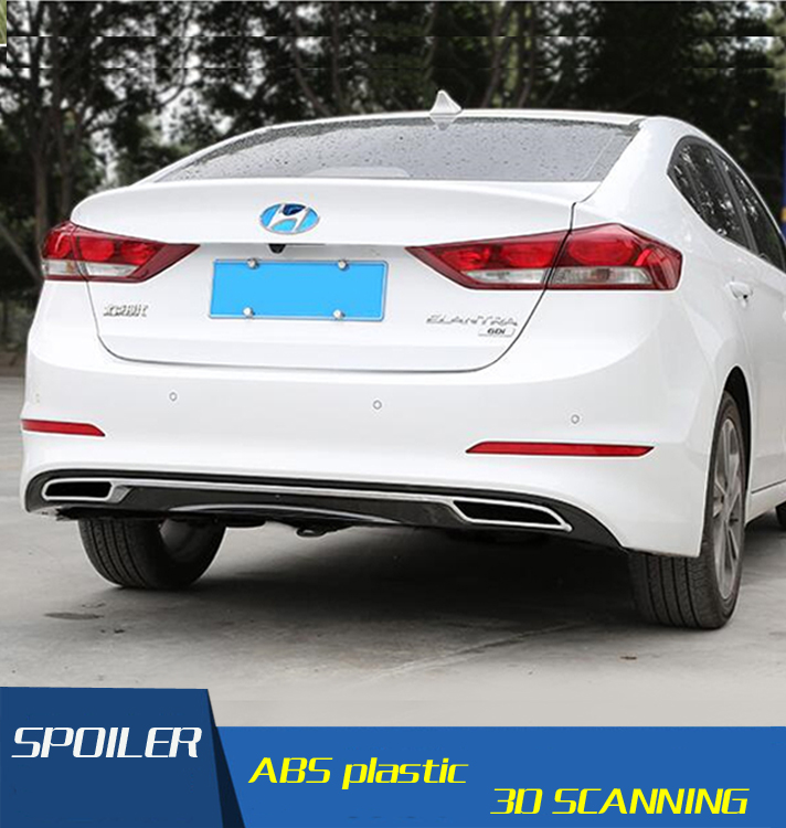 For Elantra Rear spoiler ABS Rear Bumper Diffuser Bumpers Protector For Hyundai Elantra After chrome lip
