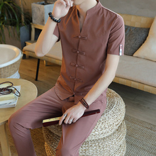 Loldeal Chinese Linen Cardigan Button Style Solid Color Cotton Suit Mens TShirt + Pants 2 Sets