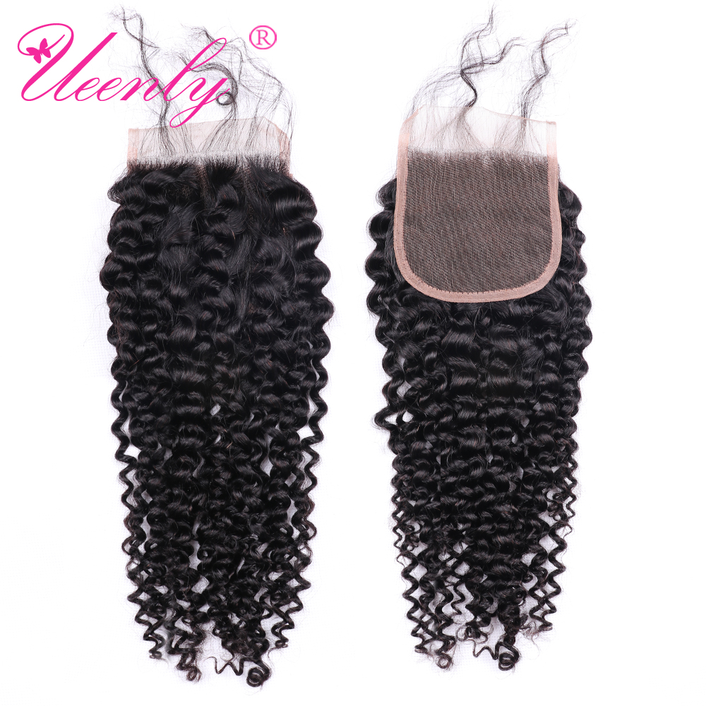 UEENLY Curly-Hair Closure Remy Natural-Color Brazilian 10pcs/Lot Middle/Free/three-part