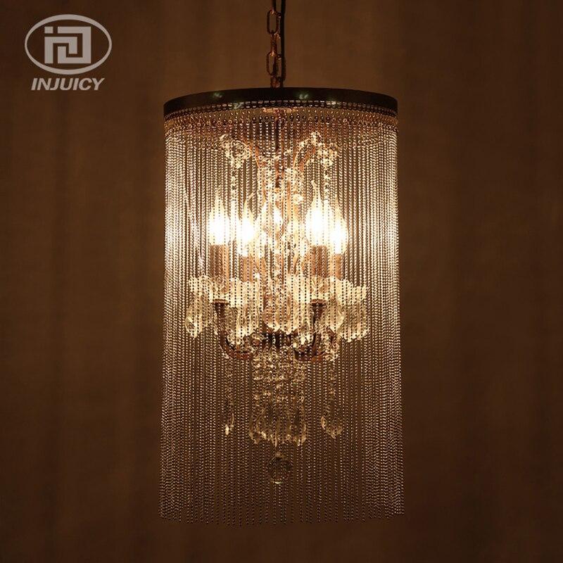 Vintage Style industriel cristal pendentif lampe grand luxe cristal rideau perle pendentif LED lampes pour projet hôtel décorer