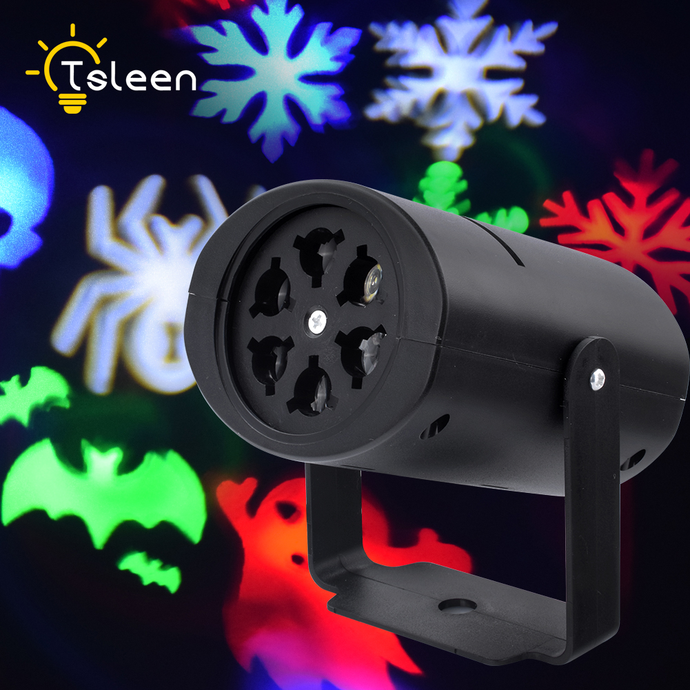 TSLEEN Mini Projector Stage Light Led Multicolor Snow Disco Party Lamp Christmas Holiday Landscape Light 4 Modes EU Plug 85-260V