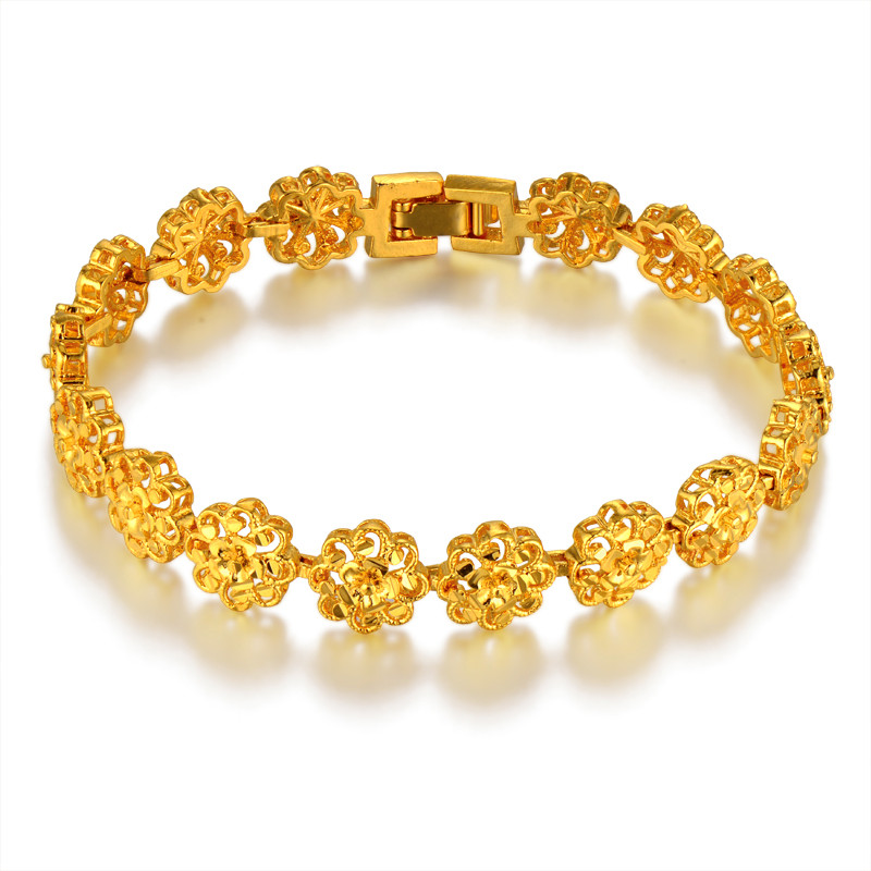 Us 6 11 61 Off Clic Ethnic Prom Flower Gold Bracelet Female Color Hot Brand Chain Link Women Jewelry In