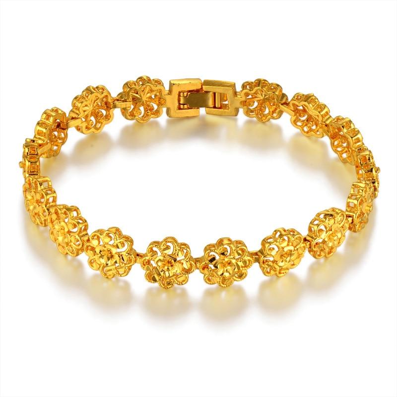 Classic Ethnic Prom Flower Gold Bracelet Female Gold Color Hot