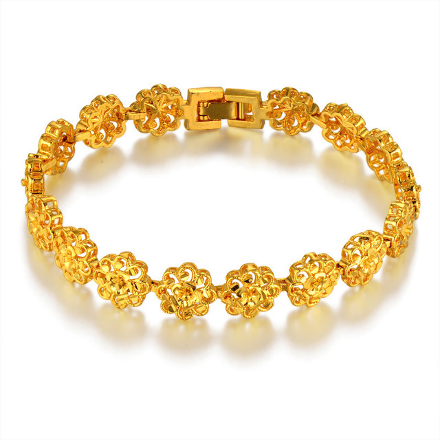 Clic Ethnic Prom Flower Gold Bracelet Female Color Hot Brand Chain Link