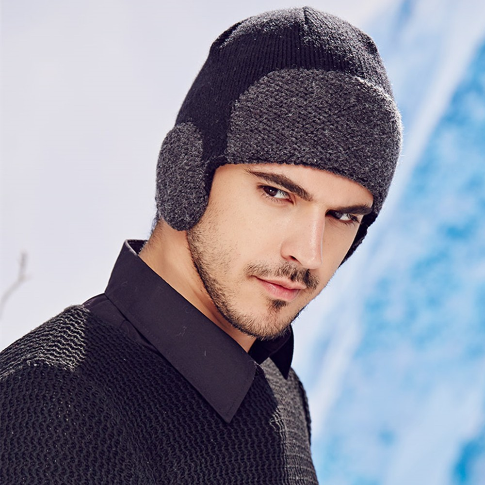 668ac7c90142eb Kenmont Fall Winter Mens Beanie Hat Cotton Knitted Earflaps Outdoor ...