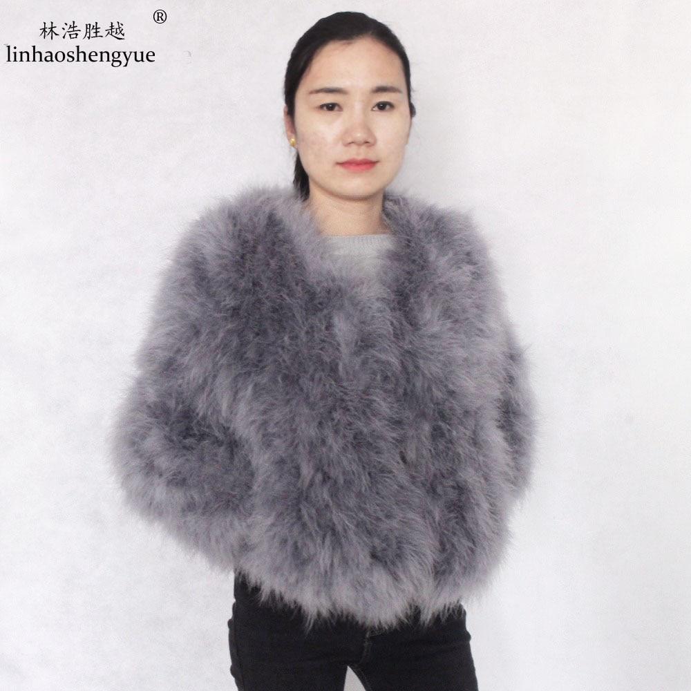 linhaoshengyue dlouhý 55cm 2015 podzim zima pštrosí srst kabát vlna svrchní oděv krátký design s dlouhým rukávem krůtí vlna svrchní oděv