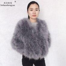 linhaoshengyue long 55cm 2015 autumn winter ostrich fur coat wool outerwear short design long-sleeve turkey wool outerwear fur
