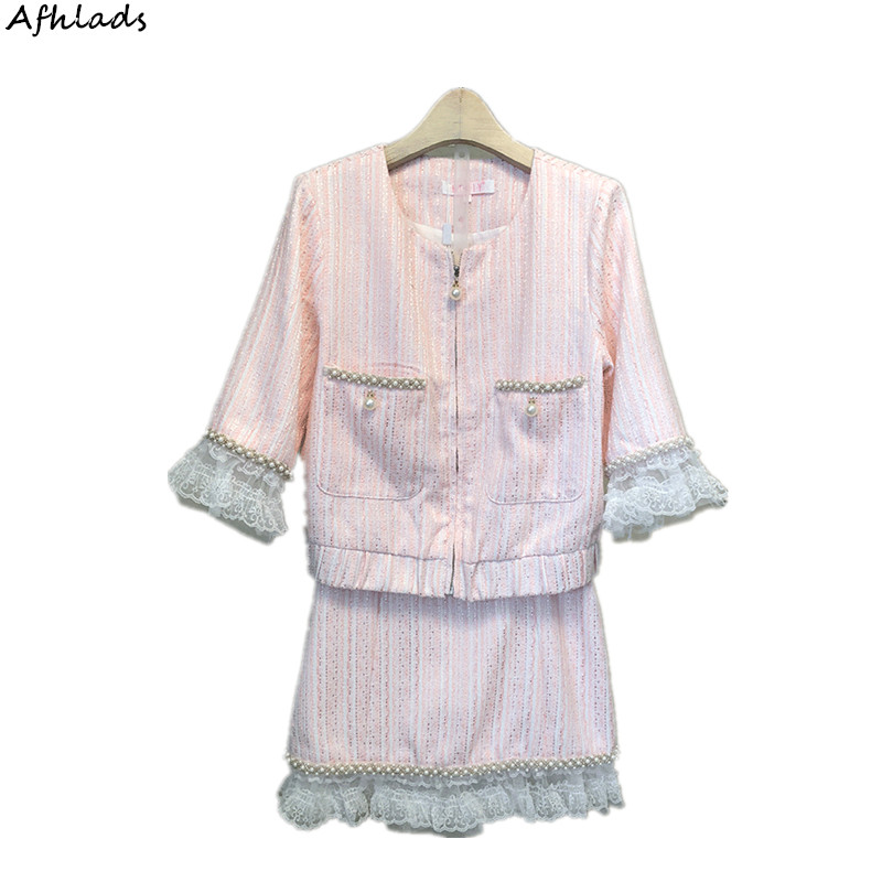 Spring new fashion small fragrance suit female beaded patchwork lace striped ladies style short skirt two-piece sets of tide