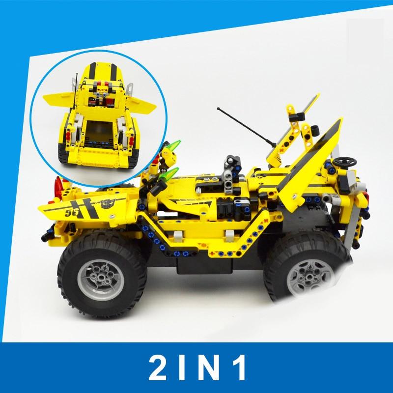 Bumblebee RC Building Blocks Car Toys for Children DIY Remote Control Building Block Car Splicing Block Toy for Kids transformers маска bumblebee c1331