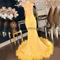 Роскошное вечернее платье из перьев 2019 Robe de soiree, желтое кружевное длинное вечернее платье для выпускного вечера с высоким воротом, Vestidos de