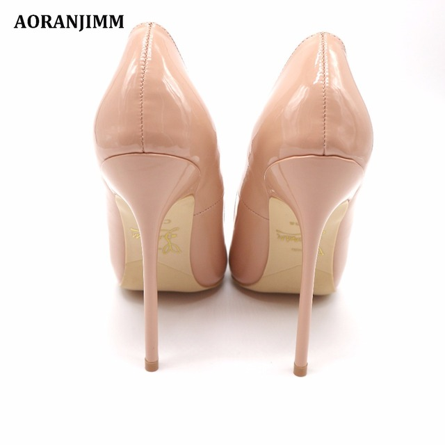 Free shipping real pic AORANJIMM claiss nude patent leather office lady OL style women lady 120mm high heel shoes pump 3