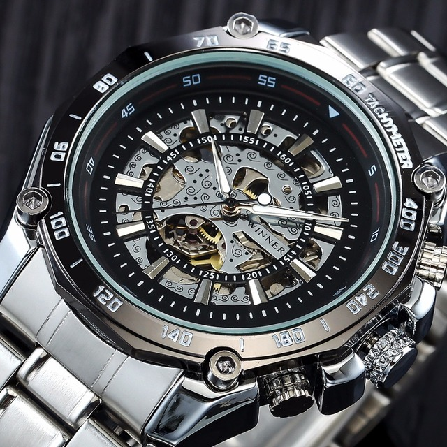 2018 WINNER Mens Watches Mechanical Full Steel Skeleton Shock Resistant Self-win