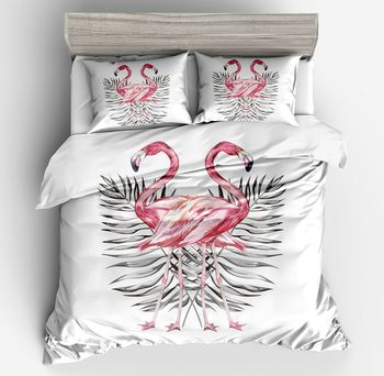 Pink 3d Flamingos High Quality New Style Bedding Sets duvet cover Plant leaves Queen Full Twin Size Pillow case Duvet Cover sets