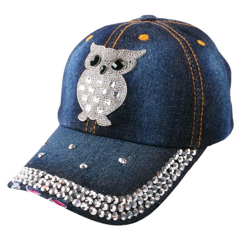 women girl fashion owl hip hop snapback wholesale designer sale animal pattern rhinestone bling casual baseball cap brand hat
