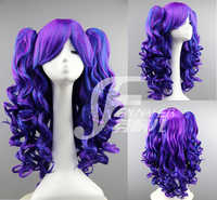 Lolita Wig Cosplay Halloween Blue Purple Gradual Color Long Body Wave Role Play Base Wig+ Ponytail Clips