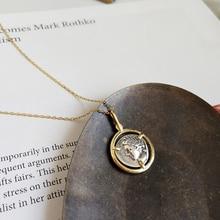 Peri'sBox 925 Sterling Sliver Protrait Coin Pendant Chokers Necklaces Minimalist Layering Choker Statement Disc Necklaces Bijoux