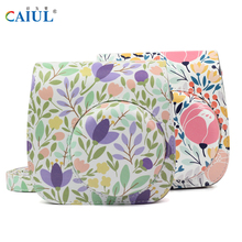 CAIUL Camera Bag With flowers Pattern PU Leather Detachable Shoulder Bag With straps For Fujifilm instax mini8 mini9 Camera case