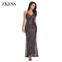 Zkess Women Sequined Plaid Party Club Long Dress Sexy Halter V Neck Sleeveless Maxi Dress Adjustable
