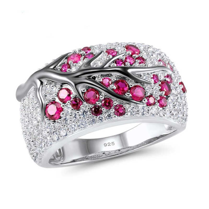 39a25cc164d95 Vintage Plum Tree Flower Blossom Paved Red Pink Rhinestones CZ Ring 2019  New Bohemia Cute Banquet Fine Jewelry O5M171