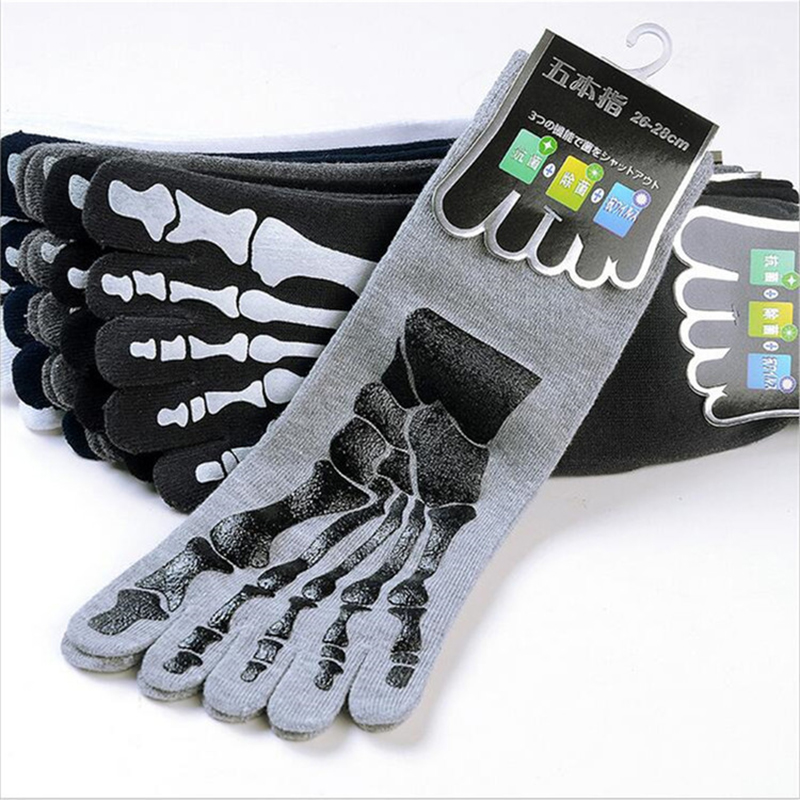 3 pairs/lots Mens 3D Print Skull Skeleton Toe Socks Five Fingers Add Sox Bone Male Short Socks Cotton Absorb Sweat Sports Sock