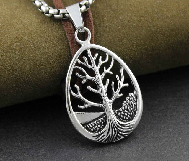 Womens Mens Tree of Life Leaf Pendant Charm Necklace Chain Celtic