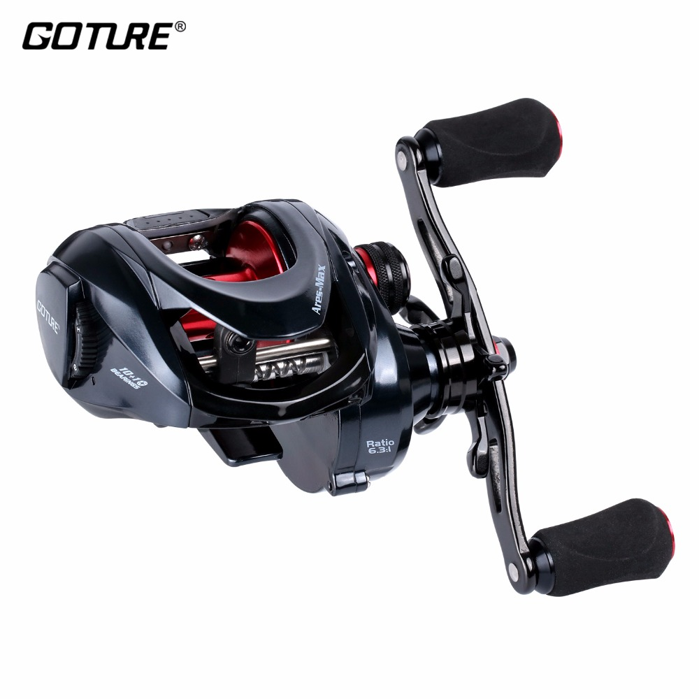 Goture Ares-Max Baitcastingrolle Heavy Duty 10 + 1BB Max Drag 22lbs/10 kg 6,3: 1 meer Angelrollen Köder Casting Lure Fishing Reel