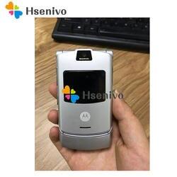 Серебристые Цвет ~ 100% оригинальный мир версии флип четырехдиапазонный с GSM Motorola Razr V3 мобильного телефона один год гарантии Бесплатная