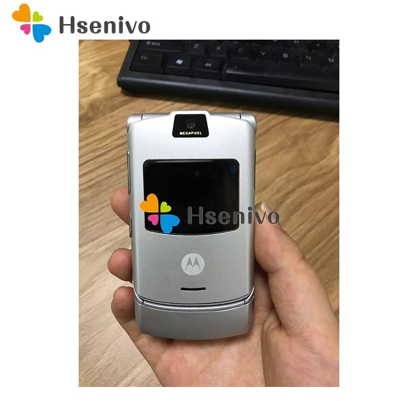 Couleur argent ~ 100% Version originale du monde Flip GSM quadri-bande Motorola Razr V3 téléphone mobile garantie d'un an livraison gratuite