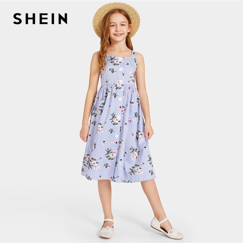 SHEIN Kiddie Blue Single Button Striped Boho Cami Dress 2019 Summer Sleeveless Floral Print Pocket Holiday Girls Midi Dresses self belted button up plaid print dress
