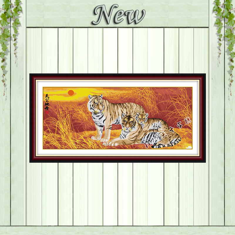 Tigers animal picture mascot animals painting counted print on canvas DMC 11CT 14CT Cross Stitch kits embroidery needlework Sets image